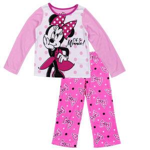 Pink MINNIE MOUSE Girls 4-10 2PC Pajama Set